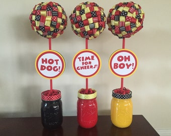 Centerpieces for red black and yellow Party Theme Ribbon Topiary Centerpieces Set of Three (3) Party Decorations ribbon topiary