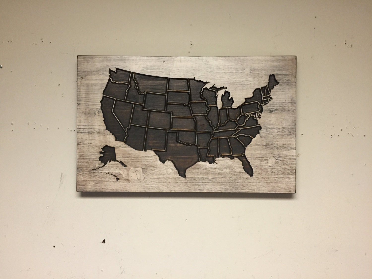 Wooden us map wood wall art home wall decor united states for Wooden art home decorations