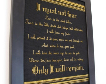 """PATTERN ONLY Litany Against Fear Cross Stitch from Dune 8.5"""" x 11"""""""