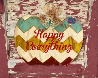 Fall Decor, Pumpkin Door Hanger, Chevron Distressed Door Hanger, Autum Decor, Autum Door Hanger, Thanksgiving Decorations, Pumpkin
