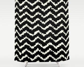 Ikat Shower Curtain Etsy - Black and white chevron shower curtain