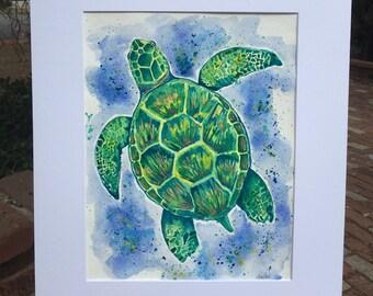 Sea Turtle Swim Watercolor Painting