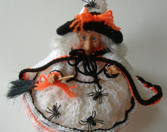 Crochet Witch on Candy Dish, White Black Orange Decorative Witch, Halloween Decor