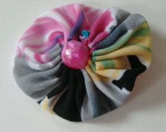 Fabric Yoyo Hair Clip, 2 Inch Hair clip, Pink Red Black, Round Barrette, Repurposed Fabric, Suffolk Puff Hair Clip