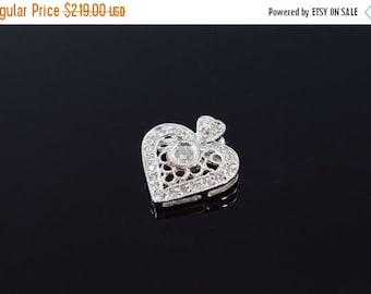 ON SALE 18K 0.18 Ctw Diamond Filigree Heart Pendant White Gold