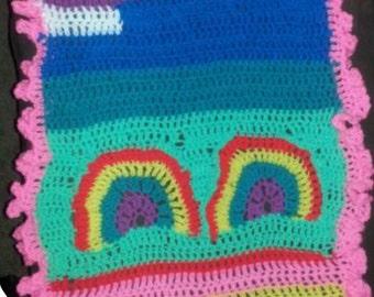 Happy Rainbow Cloud baby blanket
