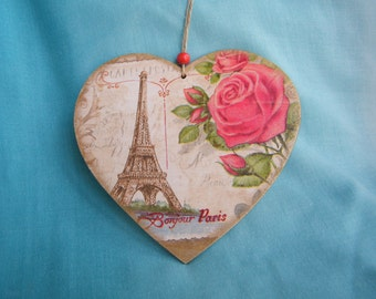 Heart ornament with Paris and rose, heart shape, valentine gift, decoupage, shabby chic decoration, wall decor,wooden hanging decoration