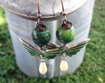 Handmade Vintage Gypsy Agate Earrings