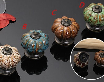 Pumpkin Kitchen Cabinet Knob Door Knob Dresser Knob Drawer Knob Pull Handle Ceramic Knob Cupboard Knob Handle Furniture Decorative Vintage