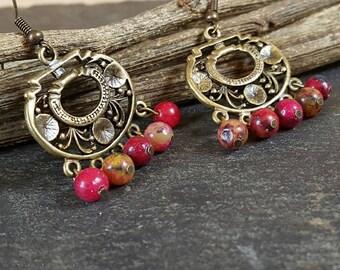 Boho in Fuchsia Chandelier - earrings