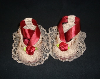 Newborn Baby Girl Handmade Crochet Beige - Burgundy Shoes, Baby Girl Booties, Girl Slippers, Ballet Shoes, Slippers with Ribbons, Lace Trim