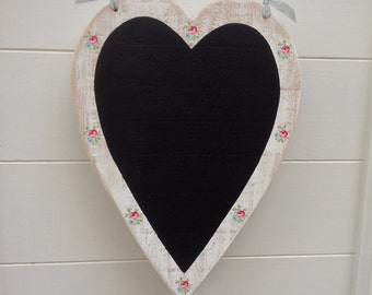 Heart Chalkboard Kitchen Decor, New House Gift for Her, Mothers Day present, Unique Special Wedding Gift, Mum gift, Pretty Decoupage Roses