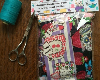 Awesome pretty fabric scrap pack, offcuts, scrapbooking, designer, cardmaking, kids crafts, creative pack, patchwork, applique, childs craft