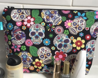 sugar skull large makeup bag, skull toiletry bag, alternative make-up bag, day of the dead, teen gift, travel gift, gift for her, organised