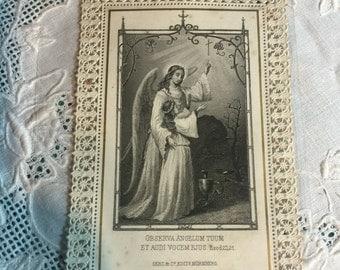 1890's Victorian Die Cut Lace Holy Card - Observa Angelum Tuum Et Audi Vocebejus