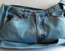 Blue Jean Hand Bag Upcycled Recycled bag made from pre-loved jeans and lined with blue striped cotton.