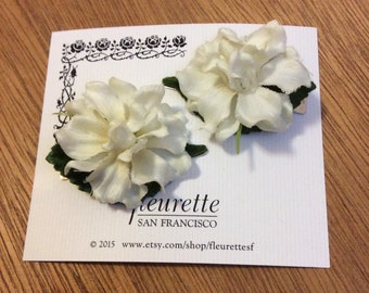 IVORY Set of 2 Lovely and Silky Floral Delphinium Bloom Flowers Hairclip... Wedding... Bridal... Bridesmaids... VLV... Hair Clips