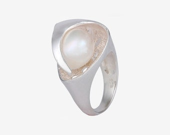 Pearl Silver Ring - Handmade Silver Pearl Ring - Sterling Silver Pearl Ring -Handmade White Pearl Ring - Handmade Silver Ring - Gift for Her