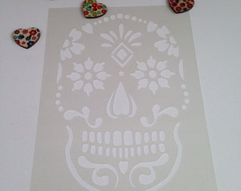 Sugar skull stencil craft stencil bedroom airbrush painting fabric paint decorating DIY day of the dead plaque sign 'offer'