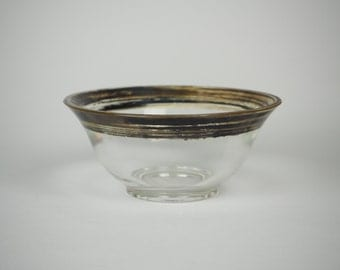 Shabby Chic Glass Bowl/Catch All with Painted on Gold Rim from the 1950's