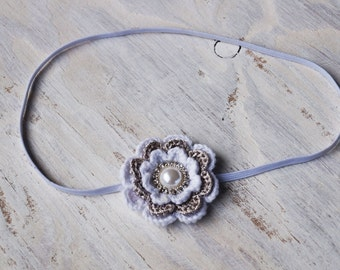 Beatiful crothet white and silver flower headand,Crotchet Flower Headband or Clip