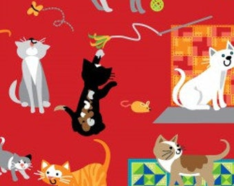 Cat Fabric-Cotton-Red Quilting Fabric-Children's Sewing Fabric-Kittens Red-A Cats Tale