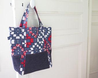 KIWA handbag in wax (African fabric) and denim - A4 size