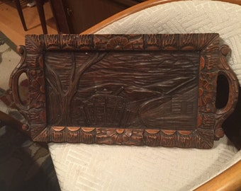 Hand Carved Wood Tray with Glass