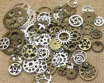Steam Punk 100pc pack Gears and Cogs - mixed brass & Vintage silver