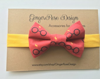 Harry Potter Bow Tie; Gryffindor Bow Tie;  Scarlet and Gold Bow Tie; Glassses and Scar Bow Tie; Wizard Bow Tie; Boy's Bow Tie