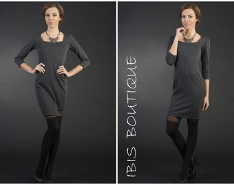"Gray woman dress ""Gina"", plus size, casual gray dress, elegant woman dress, winter dress"