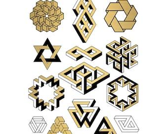 TATATAT temporary tattoos - Klebetattoos.  Geometry set by D. Baldwin