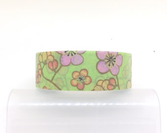 15mm * 10M Washi Tape (Green with Colourful Flower) T035