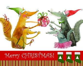 Christmas postcard size 105x148 mm
