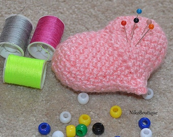 Handmade Crochet Pincushion heart.
