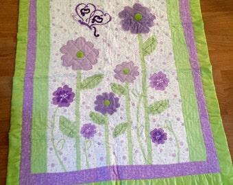 Handmade baby blanket purple green flower butterfly