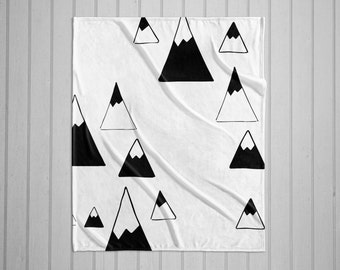 Black and white hand-drawn mountains modern plush throw blanket with white back