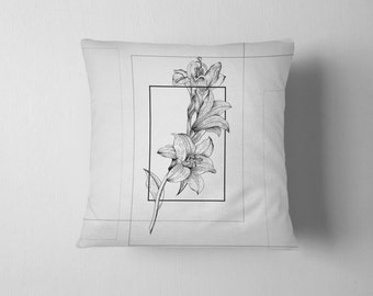 Geometry of a Flower No. 4 - Lily throw pillow