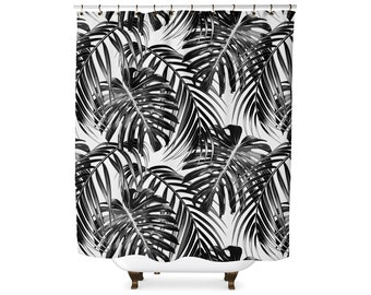 Tropical leaf black and white shower curtain