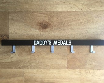 Daddy's medals - run, cycle, swim medal hanger/holder