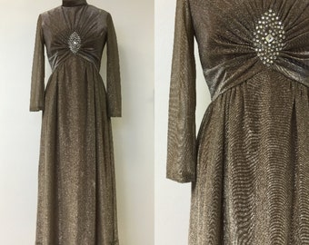 1970's Dancing Queen rhinestones and Glitter Maxi Dress