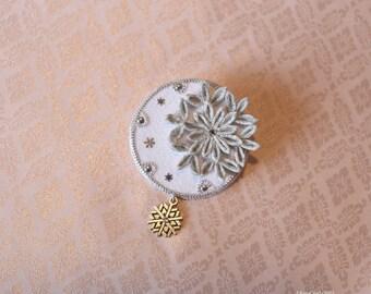 Silver Snowflake obidome/brooch