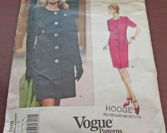 Vogue Givenchy Sewing Pattern 1818 Petite Dress Fitted Straight Lined Dress Size 12 14 16 Above Mid Knee Shoulder Pads Pockets Flaps