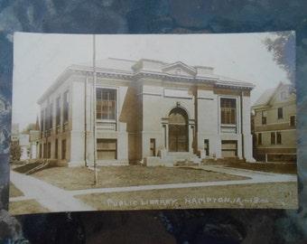 RPPC Postcard Public Library Hampton Iowa