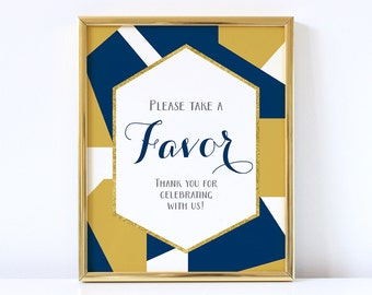 PRINTABLE Wedding Favor Sign, Geometric Favors Reception Sign, Navy Blue and Gold Wedding Decor, INSTANT DOWNLOAD