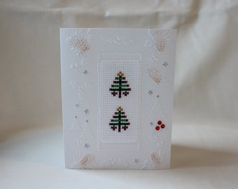 Cross stitched Christmas card
