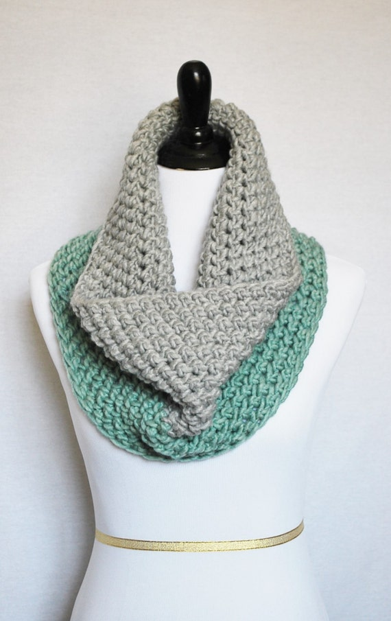 Aqua and Grey Crochet Scarf, Crochet Cowl, Gray and Teal Chunky Neck Warmer, Short Infinity Scarf, Crochet Collar Scarf