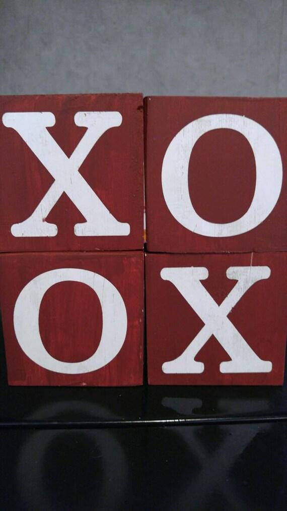 XOXO block wood decor' hand painted