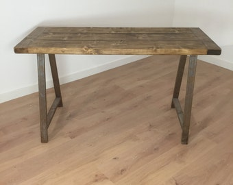 Reclaimed Pine Rustic Kitchen Dining Side Table A-Frame Graded Steel Legs