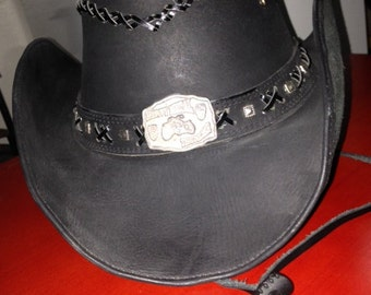Original Leather hat Bullhide (biker-cowboy??)